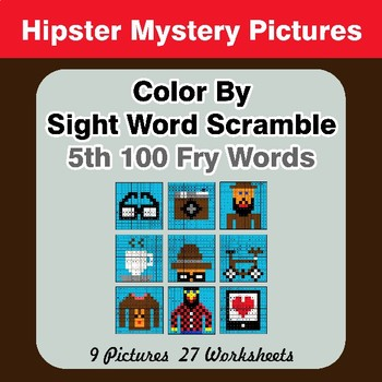 Sight Word Scramble - Hipsters Mystery Pictures - 5th 100 Fry Words