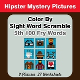 Sight Word Scramble - Hipsters Mystery Pictures - 5th 100
