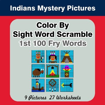 Sight Word Scramble - Indians Mystery Pictures - 1st 100 Fry Words
