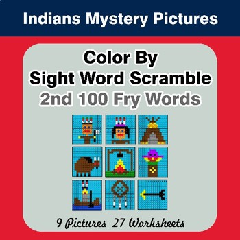 Sight Word Scramble - Indians Mystery Pictures - 2nd 100 Fry Words