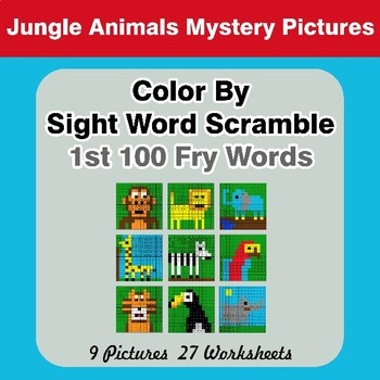 Sight Word Scramble - Jungle Animals Mystery Pictures - 1st 100 Fry Words