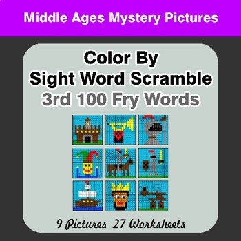 Sight Word Scramble - Middle Ages Mystery Pictures - 3rd 100 Fry Words
