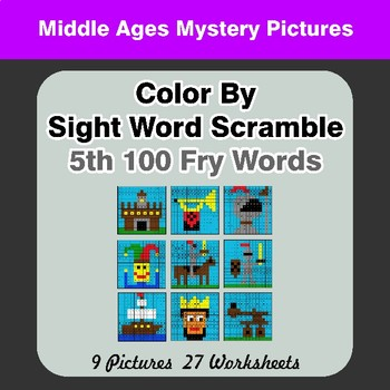 Sight Word Scramble - Middle Ages Mystery Pictures - 5th 100 Fry Words