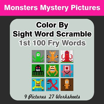 Sight Word Scramble - Monsters Mystery Pictures - 1st 100 Fry Words
