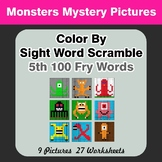 Sight Word Scramble - Monsters Mystery Pictures - 5th 100