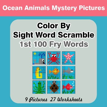Sight Word Scramble - Ocean Animals Mystery Pictures - 1st 100 Fry Words