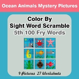 Sight Word Scramble - Ocean Animals Mystery Pictures - 5th
