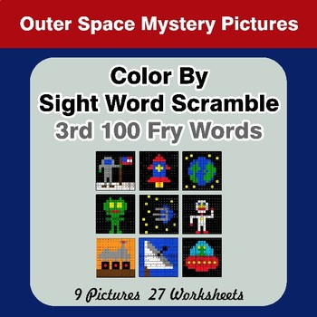 Sight Word Scramble - Outer Space Mystery Pictures - 3rd 100 Fry Words