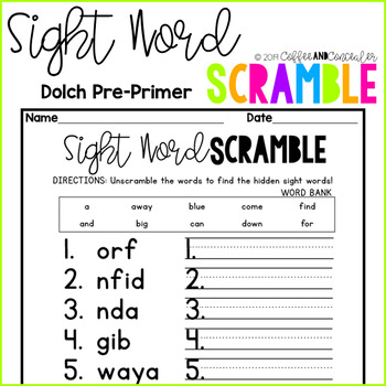 Sight Word Scramble Pack - Dolch Pre-Primer