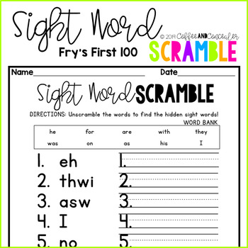 Sight Word Scramble Pack - Fry's First 100
