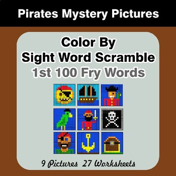 Sight Word Scramble - Pirates Mystery Pictures - 1st 100 Fry Words