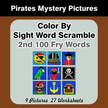Sight Word Scramble - Pirates Mystery Pictures - 2nd 100 Fry Words