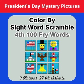 Sight Word Scramble - President's Day Mystery Pictures - 4th 100 Fry Words
