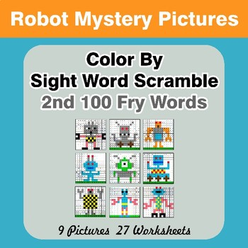 Sight Word Scramble - Robots Mystery Pictures - 2nd 100 Fry Words