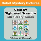 Sight Word Scramble - Robots Mystery Pictures - 5th 100 Fry Words
