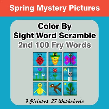 Sight Word Scramble - Spring Mystery Pictures - 2nd 100 Fry Words