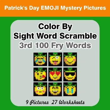 Sight Word Scramble - St. Patrick's Day Emoji - 3rd 100 Fry Words