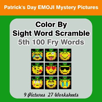 Sight Word Scramble - St. Patrick's Day Mystery Pictures - 5th 100 Fry Words