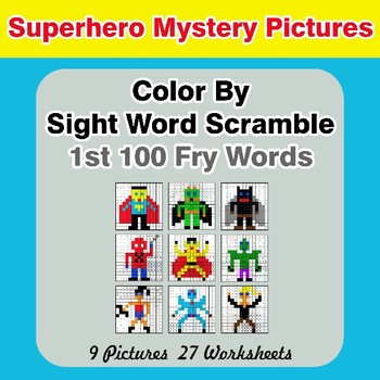 Sight Word Scramble - Superhero Mystery Pictures - 1st 100 Fry Words