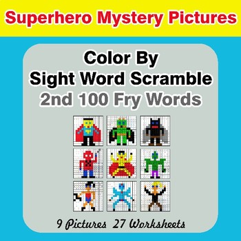 Sight Word Scramble - Superhero Mystery Pictures - 2nd 100 Fry Words