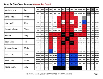 Sight Word Scramble - Superhero Mystery Pictures - 5th 100 Fry Words