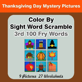 Sight Word Scramble - Thanksgiving Mystery Pictures - 3rd 100 Fry Words