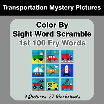 Sight Word Scramble - Transportation Mystery Pictures - 1st 100 Fry Words