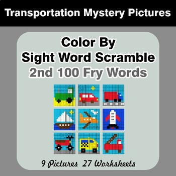 Sight Word Scramble - Transportation Mystery Pictures - 2nd 100 Fry Words