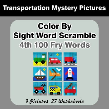 Sight Word Scramble - Transportation Mystery Pictures - 4th 100 Fry Words