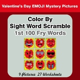 Sight Word Scramble - Valentine's Day Emoji Mystery Pictures - 1st 100 Fry Words
