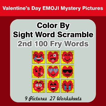 Sight Word Scramble - Valentine's Day Emoji Mystery Pictures - 2nd 100 Fry Words