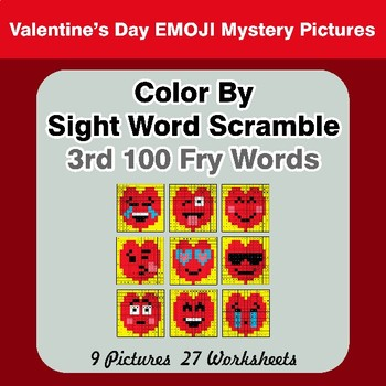 Sight Word Scramble - Valentine's Day Emoji Mystery Pictures - 3rd 100 Fry Words