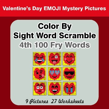 Sight Word Scramble - Valentine's Day Emoji Mystery Pictures - 4th 100 Fry Words