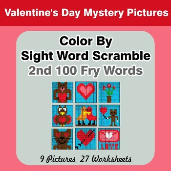 Sight Word Scramble - Valentine's Day Mystery Pictures - 2nd 100 Fry Words