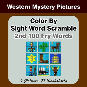 Sight Word Scramble - Western Mystery Pictures - 2nd 100 Fry Words