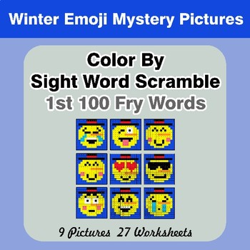 Sight Word Scramble - Winter Emoji Mystery Pictures - 1st 100 Fry Words