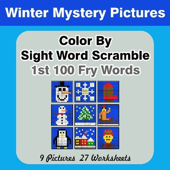 Sight Word Scramble - Winter Mystery Pictures - 1st 100 Fry Words