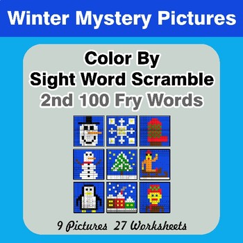 Sight Word Scramble - Winter Mystery Pictures - 2nd 100 Fry Words