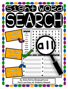 Sight Word Search (100 Dolch/CORE Reading Academy words!) - (preK, K, 1)