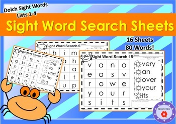 Sight Word Search - 16 sheets featuring Dolch Sight Words lists 1-4