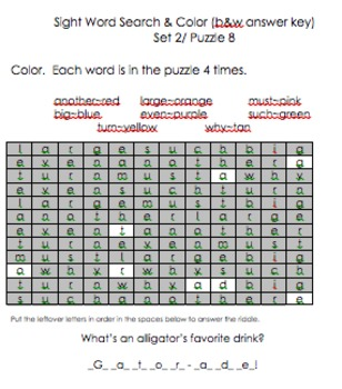 Sight Word Search & Color (Second 100)