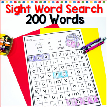 Sight Word Search First 200 Fry List