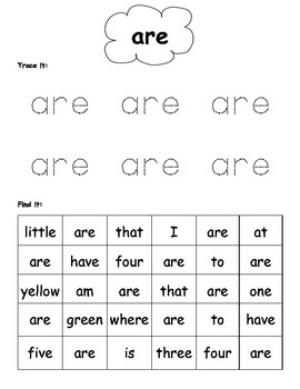 Sight Word Search Kindergarten {Common Core Addition}