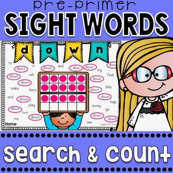 Sight Words Search and Count {Pre-Primer Words}