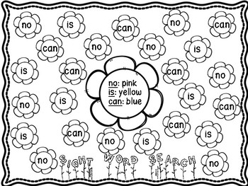 Sight Word Search and Color