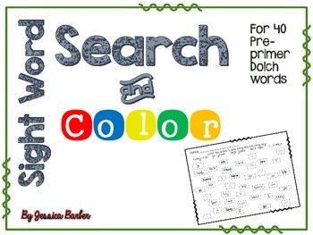 Sight Word Search and Color- Dolch Pre-Primer