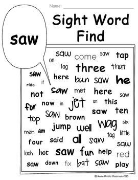 Sight Word Search and Find - Primer Dolch Words