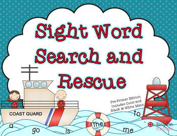 Sight Word Search and Rescue (Dolch Pre-Primer Words)