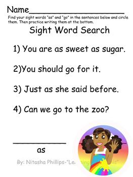 Sight Word Search- as, go