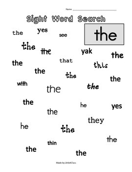 Sight Word Searches